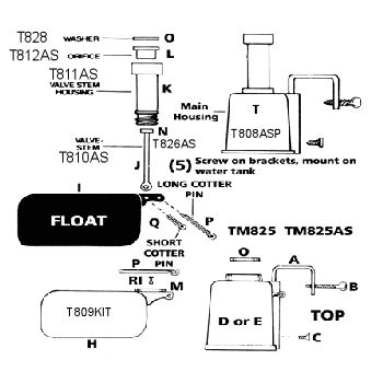 Aluminum Float Valve Little Giant TM830 Trough-O-Matic Metal